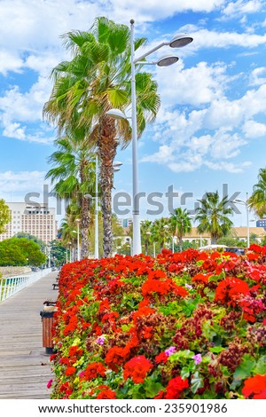 Cityscape of Valencia - third size population  city in Spain . - stock photo