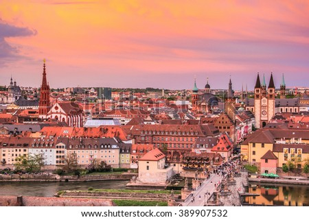 Cityscape of Wurzburg with sunset shade. Wurzburg is a city in the region of Franconia, Northern Bavaria, Germany. - stock photo