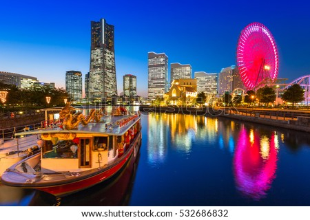Cityscape of Yokohama city at dusk, Japan