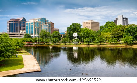 Cityscape scene of downtown Huntsville, Alabama, from Big Spring Park - stock photo