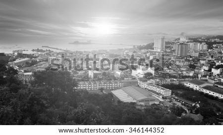 cityscape sea port sunset Si  Racha , Thailand. - stock photo
