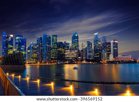 Cityscape Singapore at Night Concept