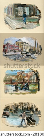 cityscape, sketch in oils Street art, painting,  - stock photo