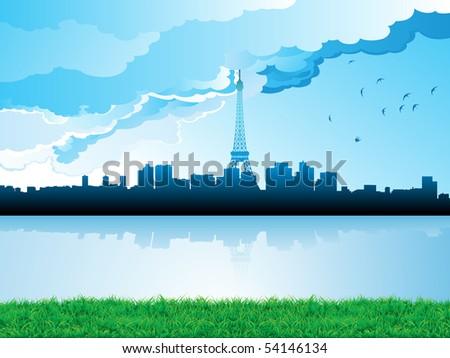 cityscape skyline paris reflections on watter - stock photo