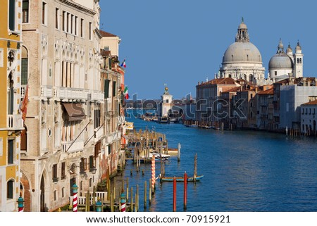 Cityscape Venice, Italy Basilica of St Mary of Health in the background