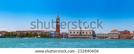Cityscape Venice, sea view Piazza San Marco with Campanile, Doge Palace in Venice, Italy. - stock photo