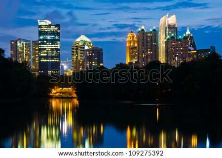 Cityscape view of midtown Atlanta from Piedmont Park - stock photo