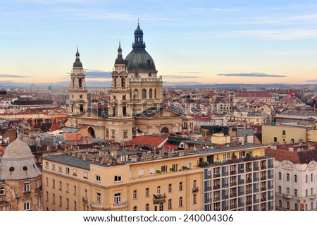 Cityscape view of St. Stephen's Cathedral, Pest side Budapest  - stock photo
