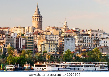 Cityscape with Galata Tower at sunset in Istanbul, Turkey - stock photo