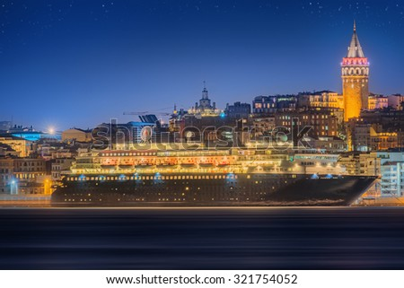 Cityscape with Galata Tower, Golden Horn and ferry in Istanbul, Turkey - stock photo
