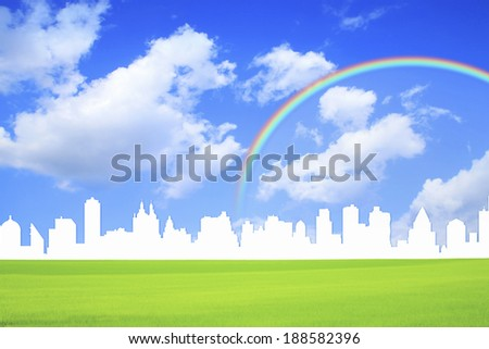 Cityscape with rainbow