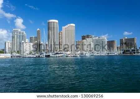 Cityscape with sea front, Honolulu Hawaii - stock photo
