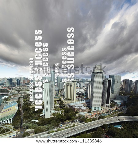 Cityscape with skyscrapers and grey sky above the city - stock photo