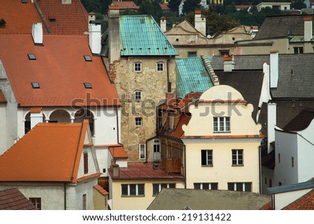 cityscapes. interesting house and windows in Europe. - stock photo