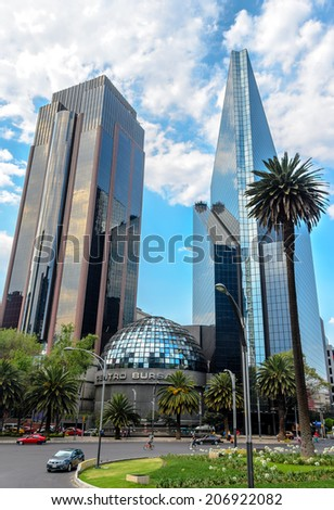CIUDAD DE MEXICO, DF / MEXICO- MARCH 2 2014: Mexican Stock Exchange or Bolsa Mexicana de Valores in Paseo de la Reforma, Mexico City - stock photo