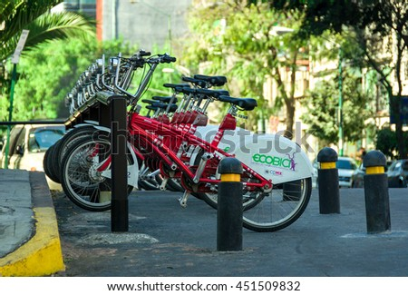 CIUDAD DE MEXICO / MEXICO - FEBRUARY 23 2016: Row of city bikes for rent in Mexico City - stock photo