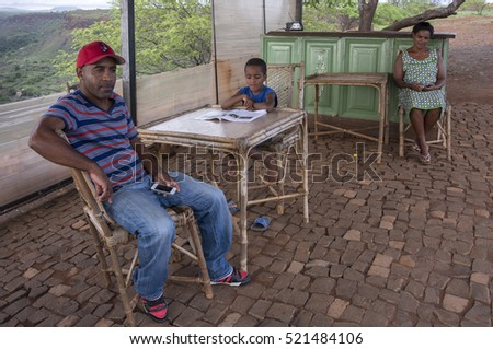 CIUDAD VELHA, SANTIAGO ISLAND, CAPE VERDE - SEPTEMBER 03, 2015: People in the entrance booth to the Royal Fortress of San Felipe