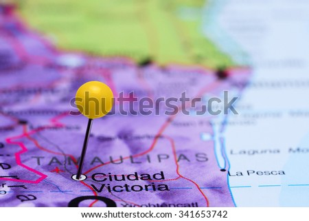 Ciudad Victoria pinned on a map of Mexico  - stock photo