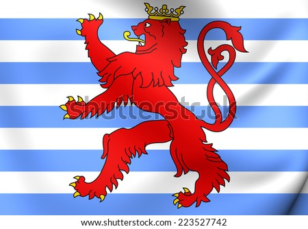 Civil Ensign of Luxembourg. Close Up.    - stock photo