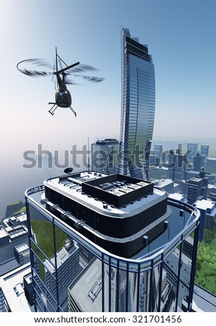 Civil helicopters and modern city. - stock photo
