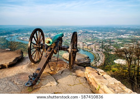 Civil war era cannon overlooking Chattanooga, Tennessee, from Point Park on Lookout Mountain - stock photo