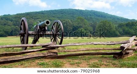 Civil War era cannon overlooks Kennesaw Mountain National Battlefield Park - stock photo