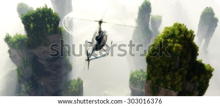Civilian helicopter on a background an  landscape - stock photo