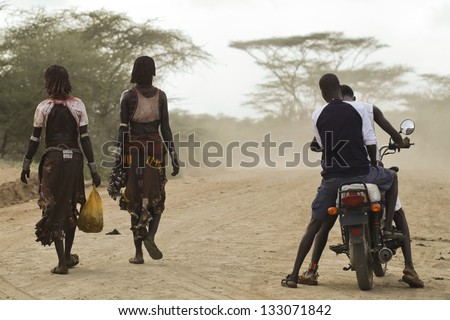 Civilisation meet old traditions - stock photo