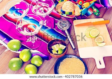 Claasic lime margarita with garnish lime and turbinado sugar for Fiesta. - stock photo