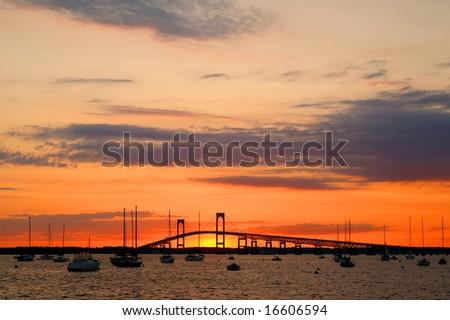 Claiborne Pell Newport Bridge, Newport, RI Horizontal at Sunset with Copy Space - stock photo
