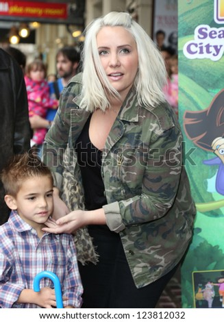 Claire Richards and son Charlie arriving for the Celebrity & Press Performance of Nickelodeon's Dora the Explorer at the Apollo Theatre, London. 29/08/2012 Picture by: Henry Harris