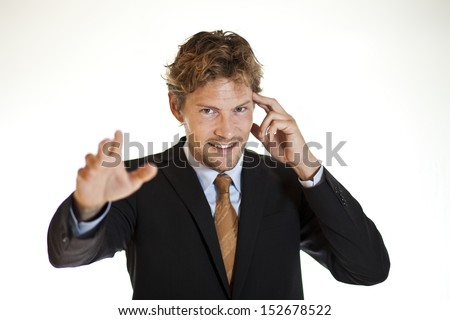 Clairvoyant businessman trying to control minds