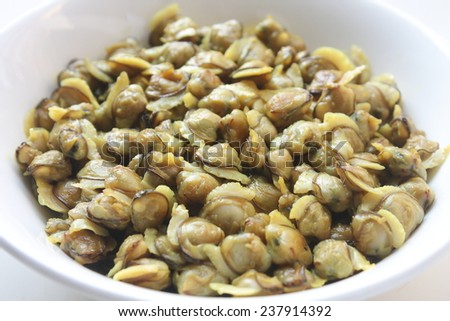 Clam meat in bowl. - stock photo
