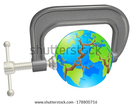 Clamp breaking world globe, concept for environmental or other problems - stock photo