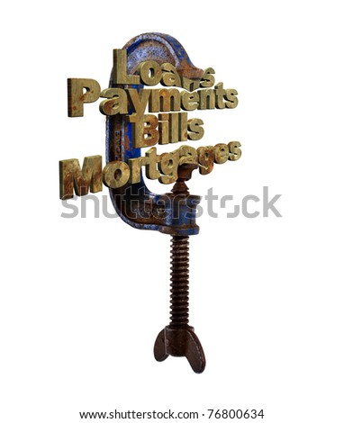 Clamp squeezing financial words in 3D - stock photo