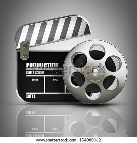 Clap board and Film roll. movies symbol closeup. High resolution. 3D image  - stock photo