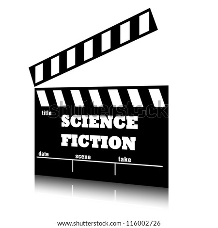 Clap film of cinema science fiction genre, clapperboard text illustration. - stock photo