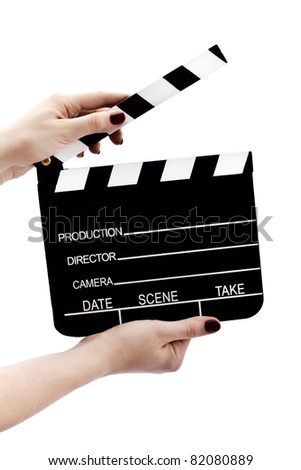 Clapboard in hands isolated on white - stock photo
