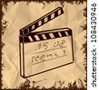 Clapboard isolated on vintage background. Hand drawing sketch vector illustration - stock photo