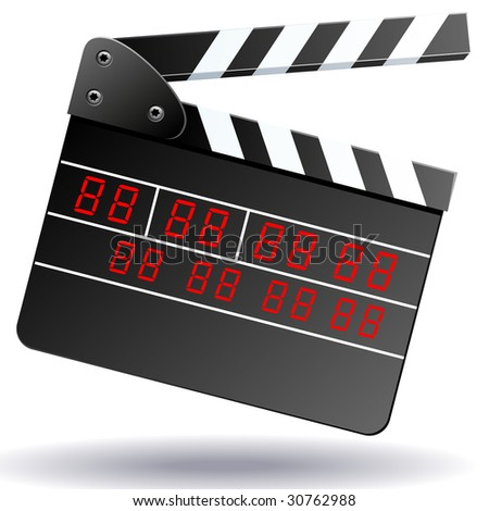 Clapboard isolated on white.  (also available vector version of this image in our gallery) - stock photo