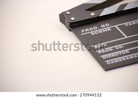 Clapper Board / Film Slate isolated on white, with copyspace - stock photo