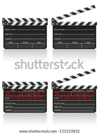 clapper board illustration isolated on white background - stock photo