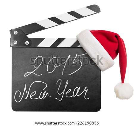Clapper board with 2015 new year text isolated on white - stock photo