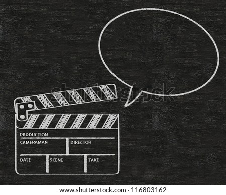 clapper board with talk bubble abstract written on blackboard background collection set. - stock photo