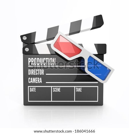 clapper board with three dimensional glasses. cinematography concept. 3d render isolated on white background - stock photo