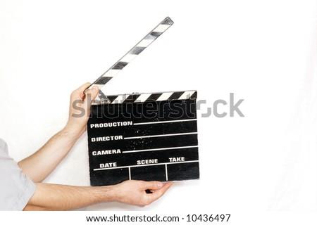 clapper in man's hands - stock photo