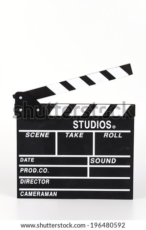 Clapper movie board isolated white background - stock photo