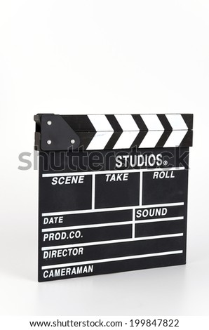 Clapper movie board isolated white background