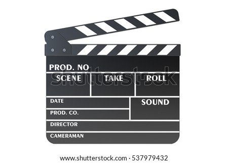 Clapperboard, 3D rendering isolated on white background