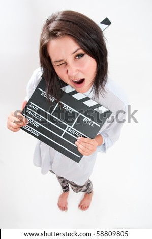 clapperboard girl - stock photo